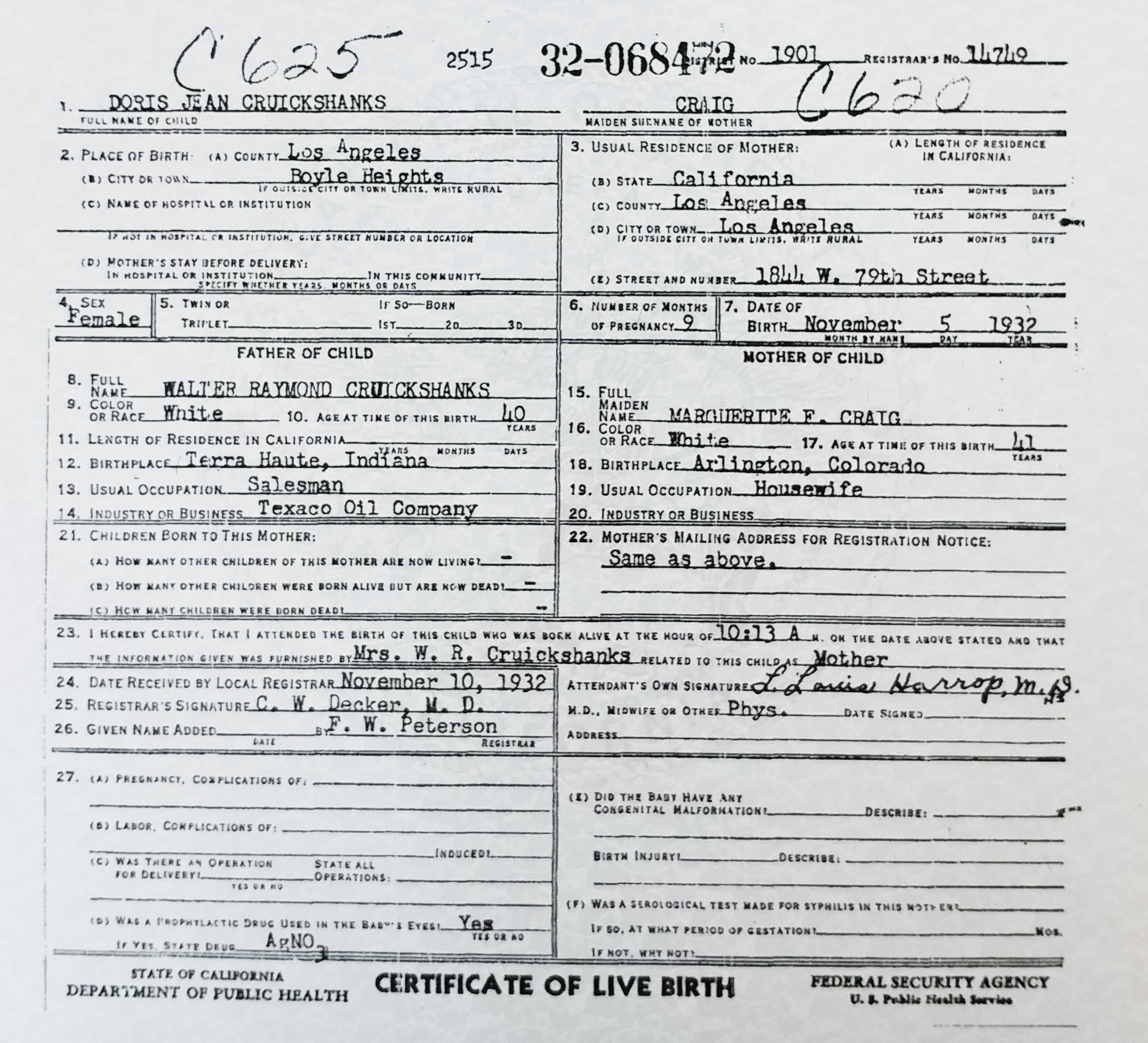 Doris Falsifiled Birth Certificate Los Angeles Dr. Harrop