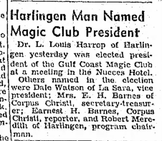 Dr. Leon Harrop Named Magic Club President