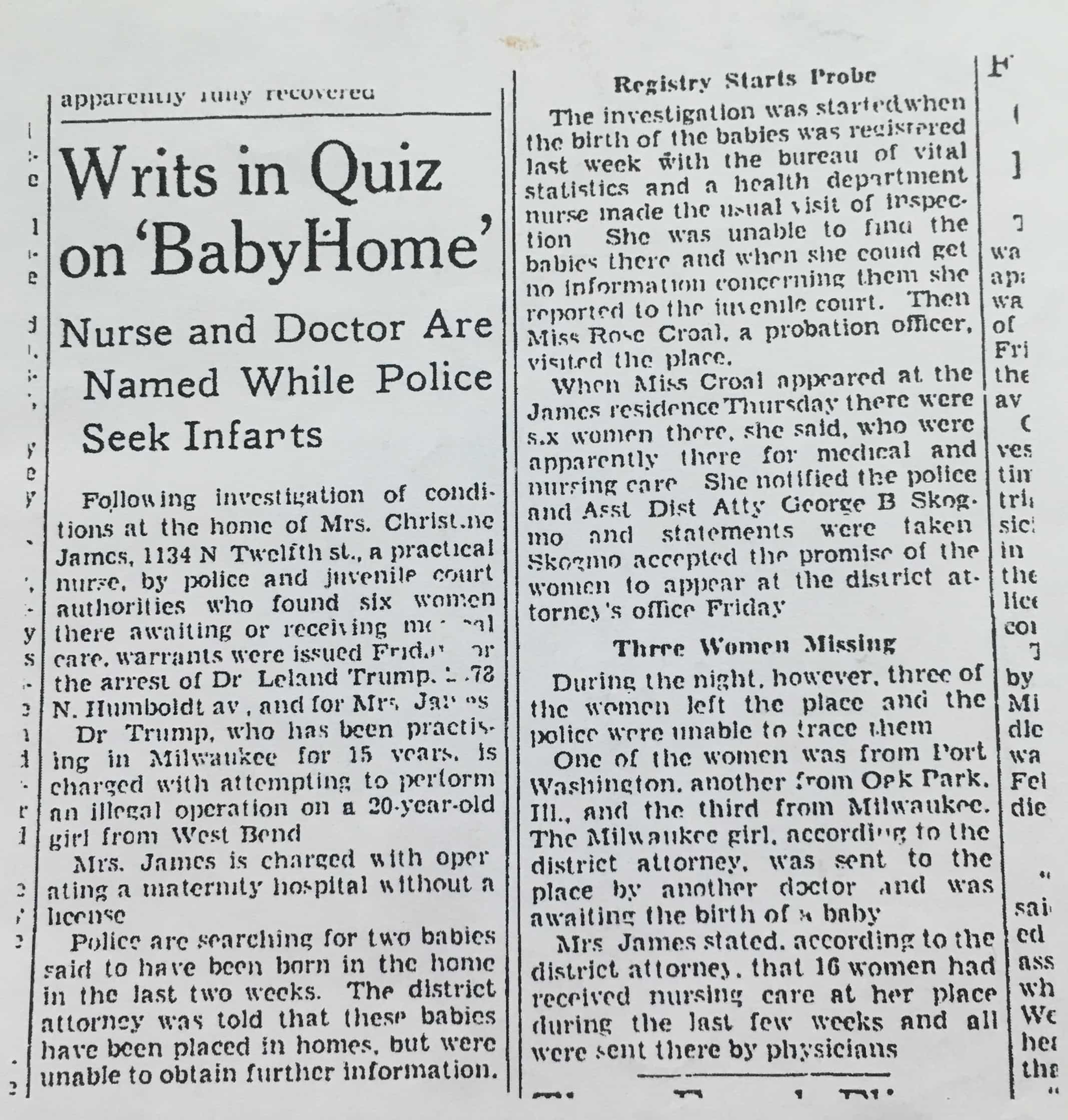 Nurse and Doctor are Named While Police Seek Infants
